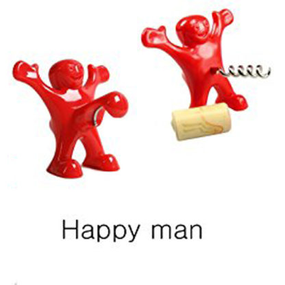 Happy Man Wine Bottle Corkscrew & Cap Opener