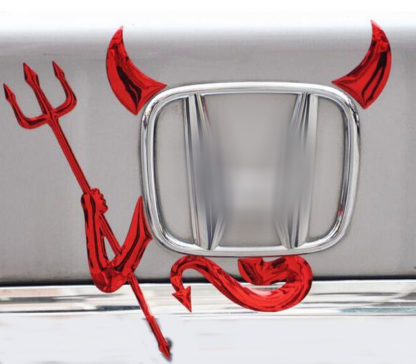 Red 3D Devil Car Decal on the Car