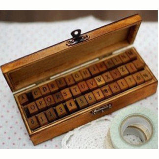 Wooden Stamp Set Letters & Numbers 42 Pcs