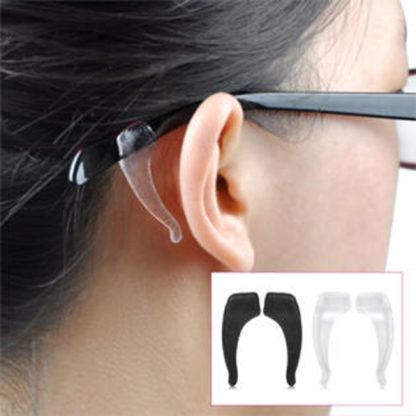 Clear Pair of Silicone Anti-slip Ear Hooks for Eyeglasses